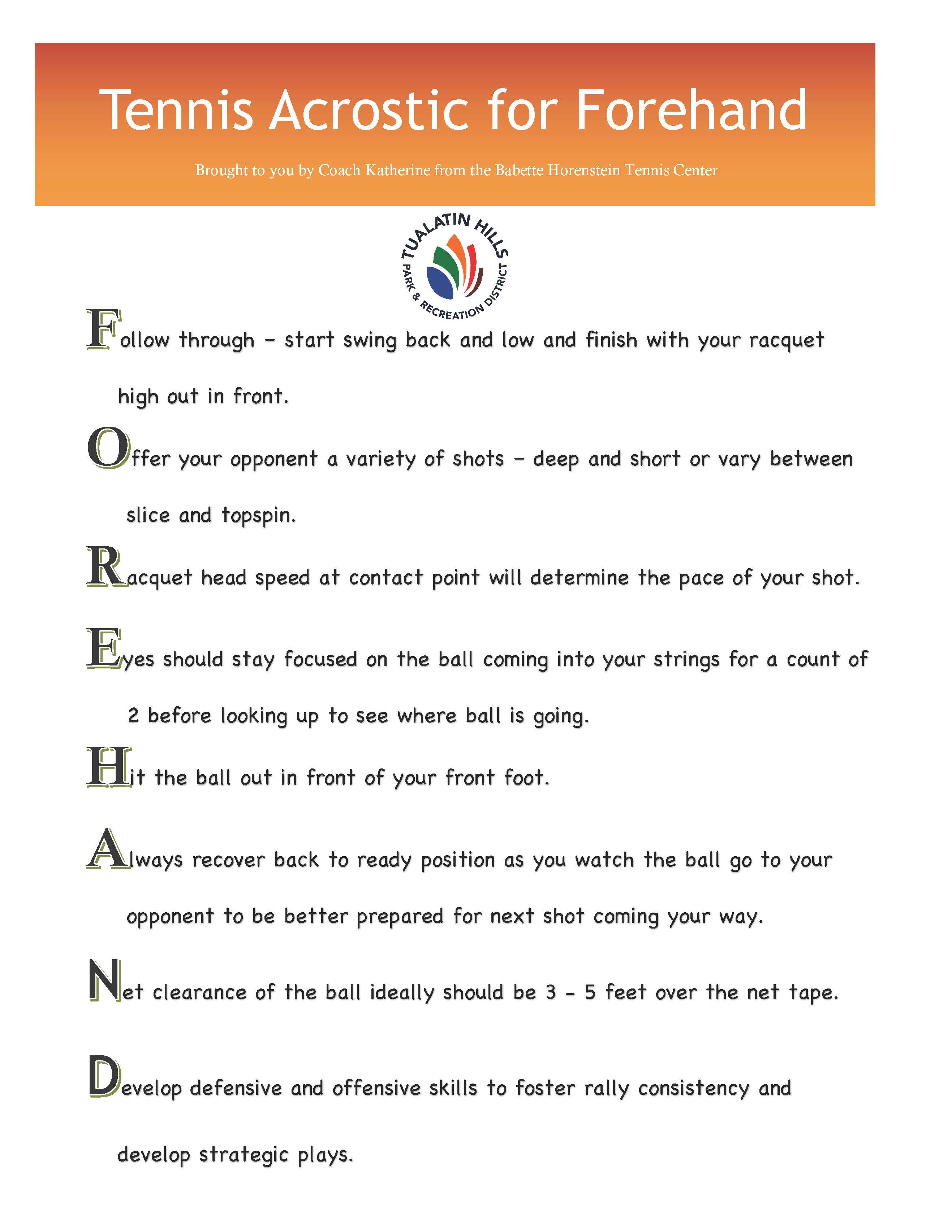 Tennis Acrostic for Forehand