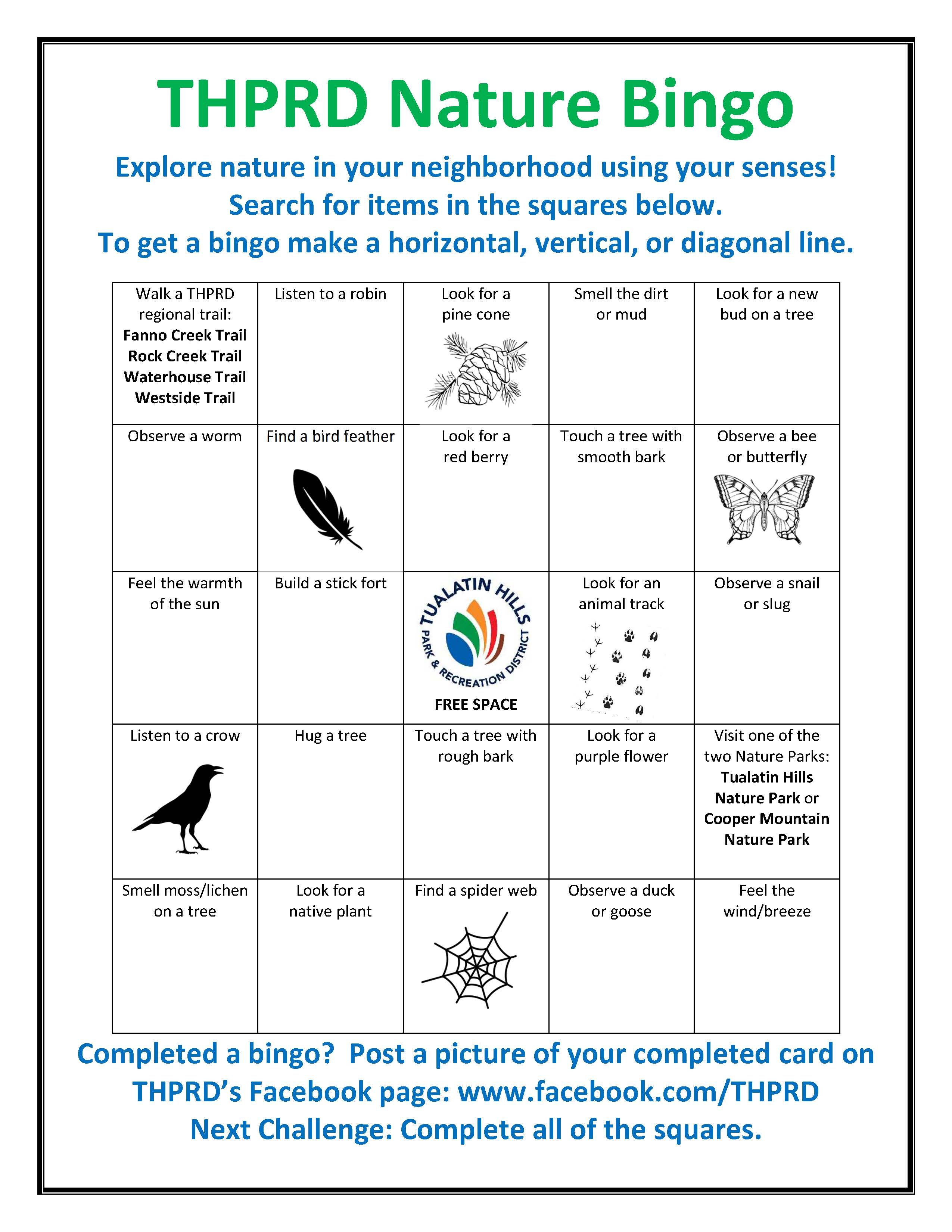 THPRD Nature Bingo Board
