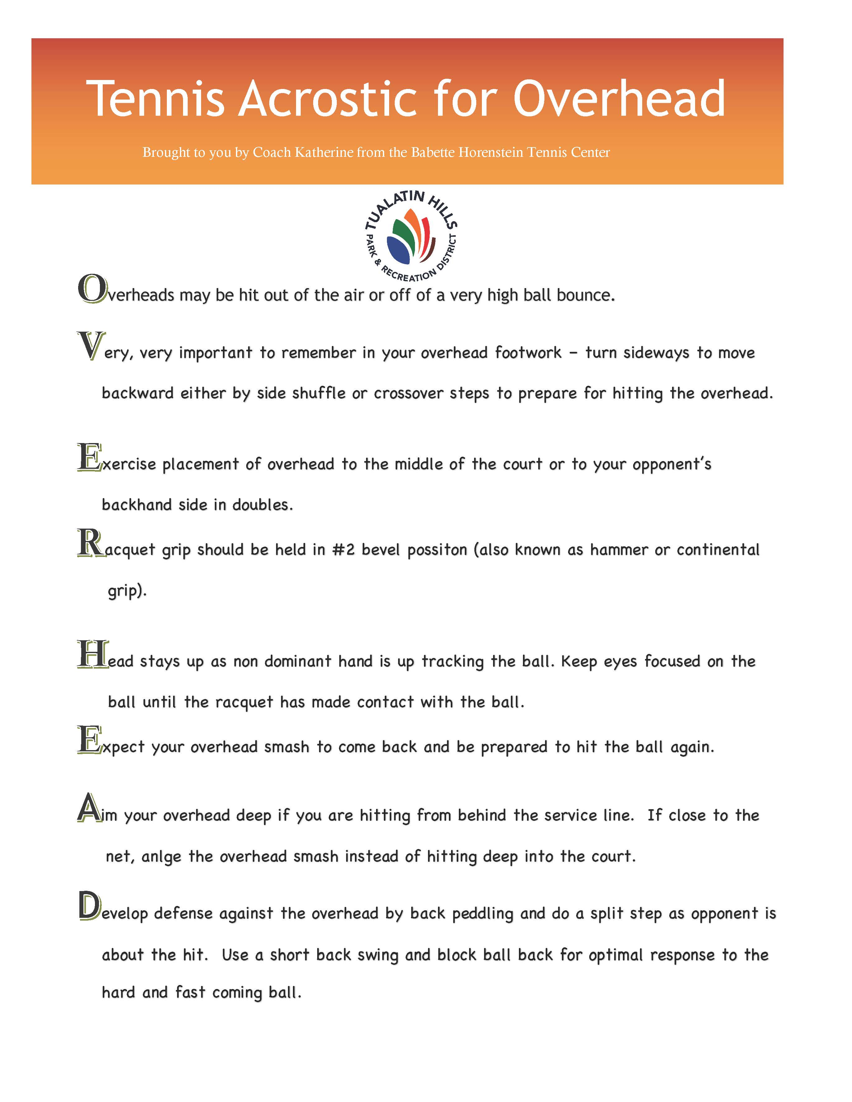 Tennis acrostic for Overhead
