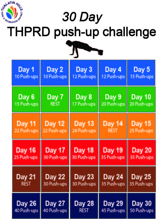 30 day pushup challenge printable calendar