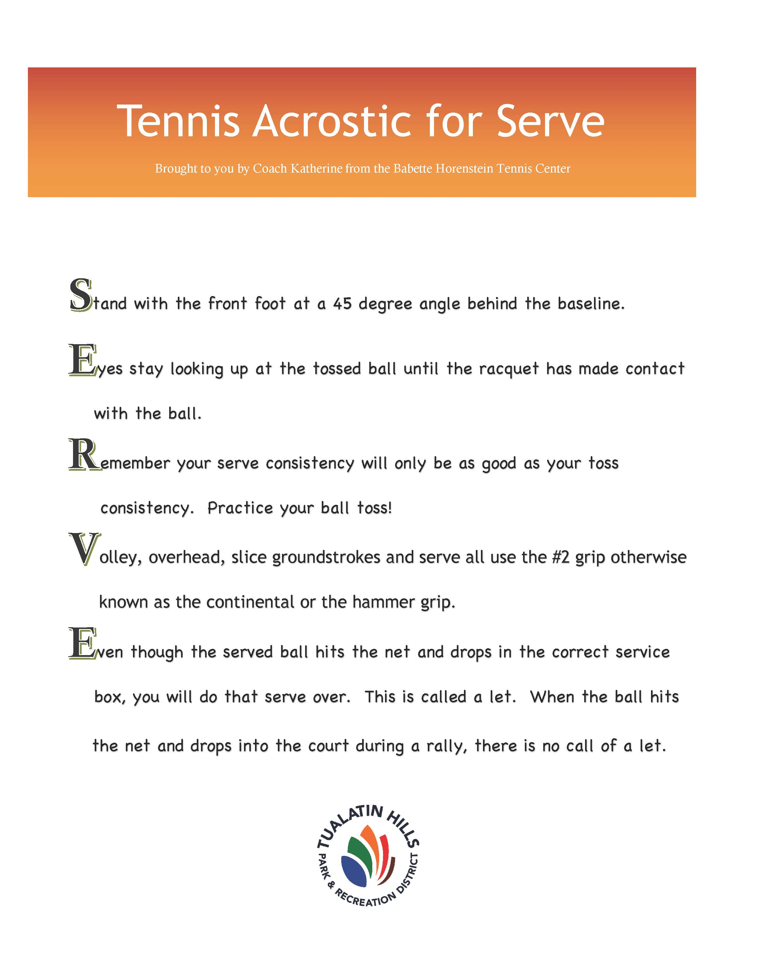 Tennis acrostic for serve