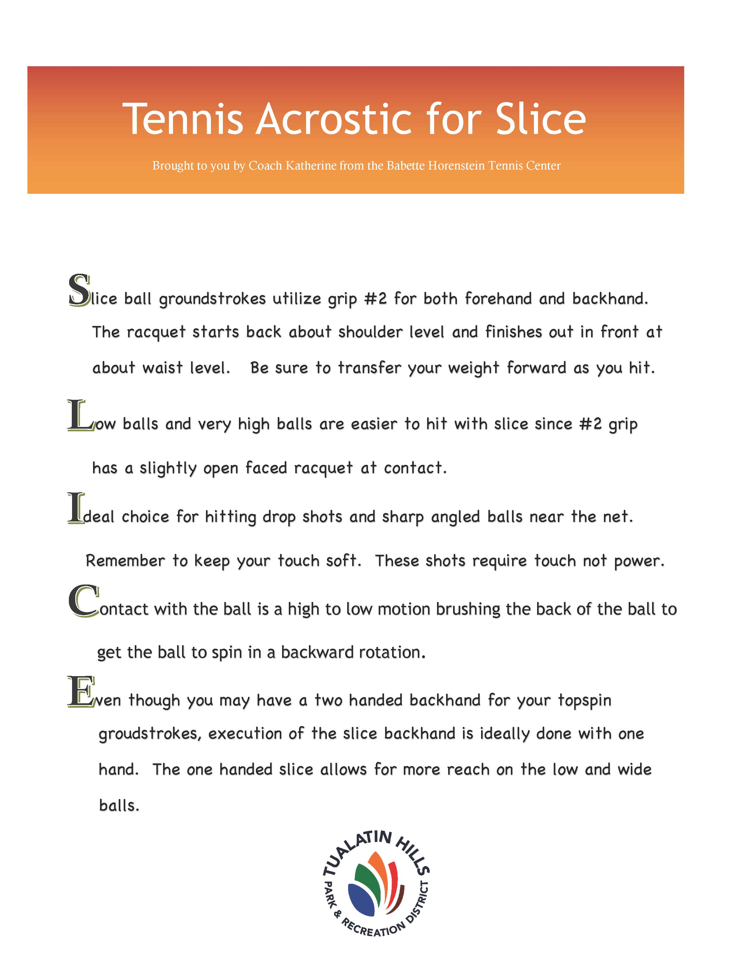 tennis acrostic for slice