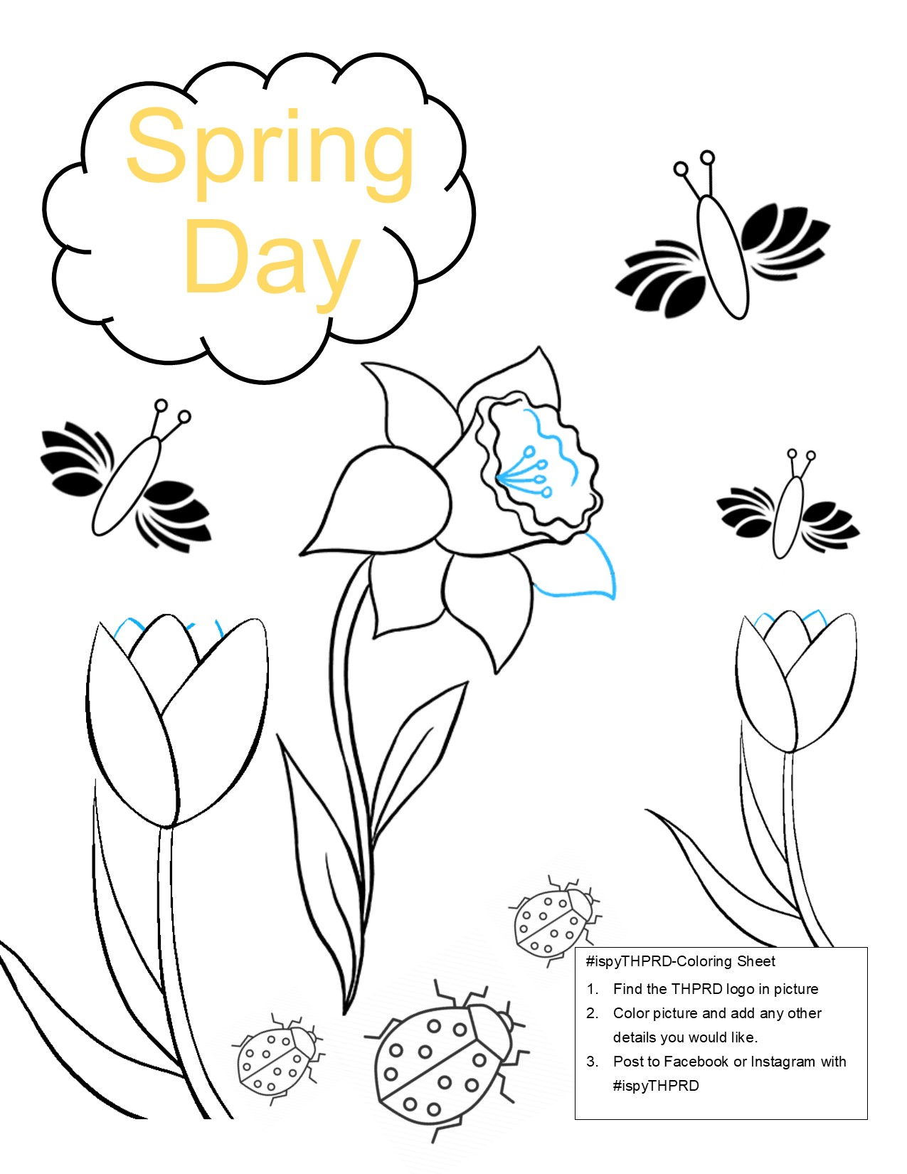 THPRD Flower Coloring Page 2