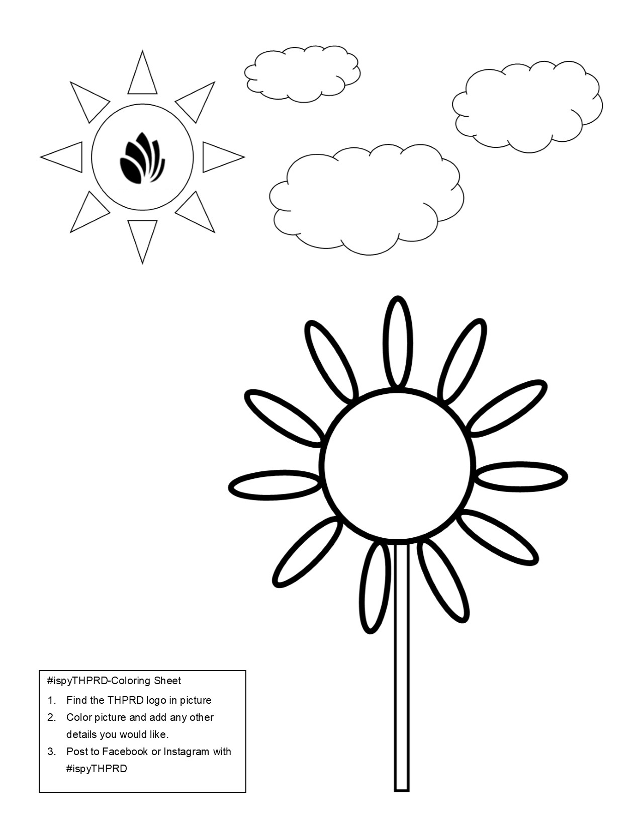THPRD Flower Coloring Page