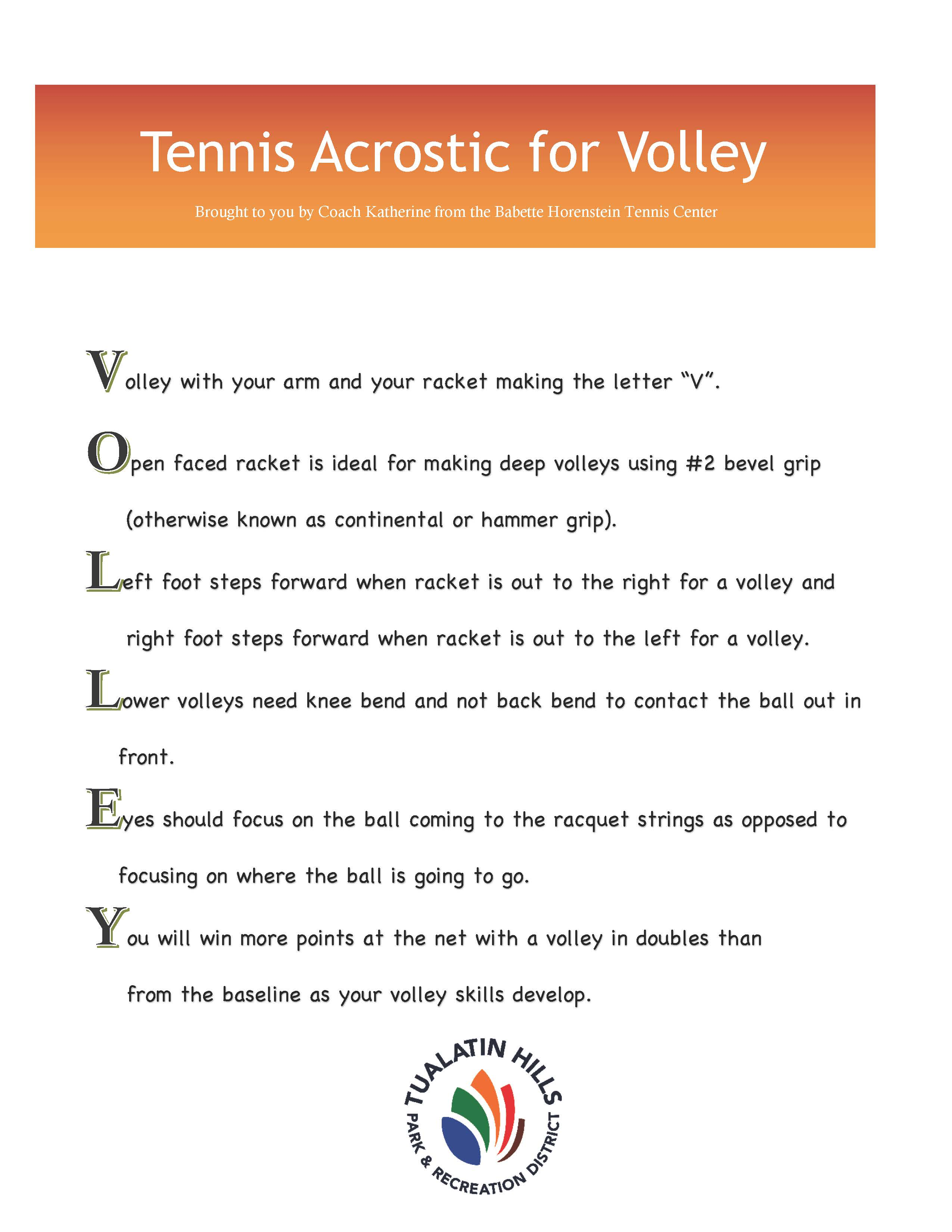 tennis acrostic for volley